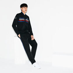 Menand039s Lacoste Sport Coloured Bands Tennis Tracksuit - Size 2 / Small - Black
