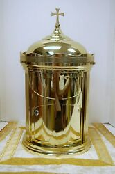Nice Refinished All Brass Tabernacle With Key 24 -church Altar Safe + Ahb-747