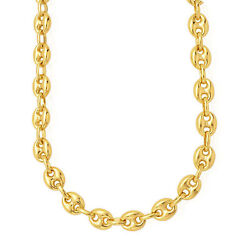 14k Yellow Gold Puffed Mariner Link Chain Necklace 7mm