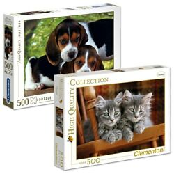 Clementoni Gray Kittens amp; Beagle Puppies Two 500 Piece High Quality