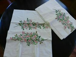 Vintage Sheet And Pillowcases - Embroidered Rose Spray On Wamsutta