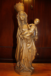 ☩ Antique 18 Hand Carved Wooden Our Lady Mary Madonna Jesus Christ Statue ☩