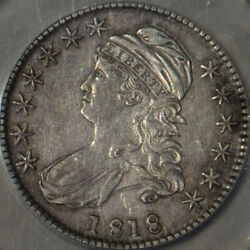 1818 Capped Bust Half Dollar Au Detail Toned Us Mint 50 Cent Silver Coin Scarce