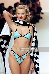 Iconic Vintage Spring 1995 Blue Quilted 95p Bikini Swimsuit