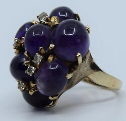 Vintage Large Fine Huge 14k Yellow Gold Ring Cluster Amethyst Cabs And Diamonds