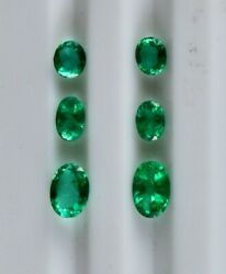 Natural Zambia Emerald Oval Cut 6 Pcs 3.08 Cts Loose Gemstone Designing Earring