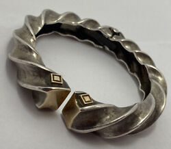 Robert Wonder Winc 925 Sterling Silver And 18k Gold Twisted Hinged Cuff Bangle