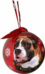 E amp; S Pet Uncropped Boxer Christmas Holiday Dog Ornament Shatter Proof Ball
