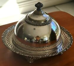 Antique Covered Butter Dish - Estate C1852 To 1898 Meriden Brittania Co.