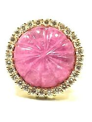 Fine, Unique 18k Yellow Gold Diamond And Carved Pink Tourmaline Statement Ring