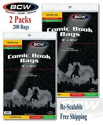 200 Bcw Resealable Bags For Golden Age Thick Comic Books Acid 2 Packs Holder New