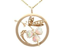 Antique 0.63 Ct Opal And Seed Pearl 9k Yellow Gold Pendant 1920s