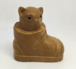 Netsuke Boxwood Cat Sitting In A Boot Carved Detailed Uk Seller