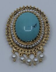 Vintage Pin Brooch Pendant 14k Yellow Gold Persian Turquoise And Pearl Cluster