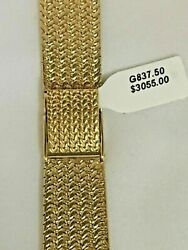 14k Gold Watch Band Bracelet Fits 20mm Watch, 7 1/4 In Length Made In Italy