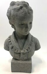 Vintage 15 Regency Style Stone Texture Painted Plaster Victorian Girl Bust