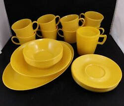 Vintage Texas Ware Melmac Plates Cups Saucers Dishes 25 Pieces Yellow