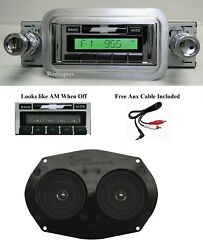 1958 Chevy Radio + Stereo Dash Speaker Free Aux Cable Stereo 230