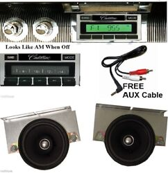 1967-1968 Cadillac Radio + 2 Dash Speakers Custom Fit Stereo 230 Free Aux Cable