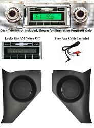 1957 Chevy Car Radio + Kick Panels With Speakers + Free Aux Cable Stereo 230