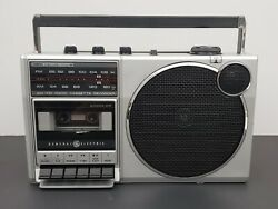 Ge 3-5248a Stereo/radio/boombox- Silver And Black- Vintage