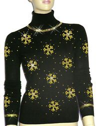 Luxe Oh` Dor 100% Cashmere Sweater Luxury Snowflakes Black Gold 3436 XSS