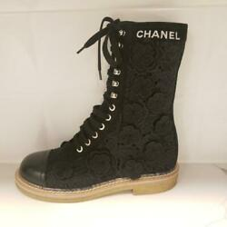 19s Camellia Flower Embroidered Applique Lace Up Flat Boots Shoes 2100