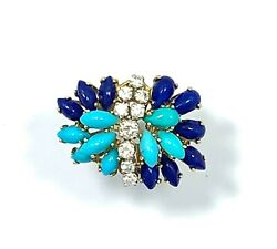 Mid Century 18k Yellow Gold Turquoise, Lapis And Diamond Butterfly, Floral Ring