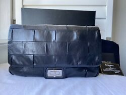 Auth Mint Chanel Classic Flap 2.55 Reissue Igloo Bag Black Leather Silver CC $2995.00