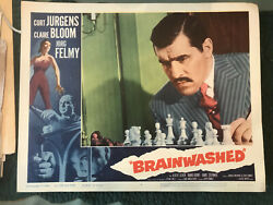 Brainwashed 1961 Allied Artists 11x14 Crime Lobby Card Mario Adorf Chess Game