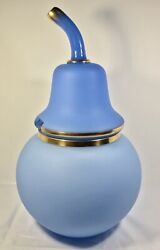 Antique Large French Blue Opaline Glass Pear Shaped Punch Bowl/tureen 1800s