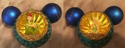 Disney Parks Mickey Icon Glass Ornament With Tinker Bell /peter Pan New With Tag