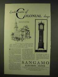 1929 Sangamo Clock Ad - Emblematic Of Colonial Days