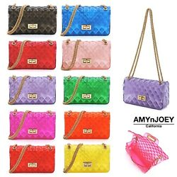 Single Tone Semi Transparent Jelly 2 Way Shoulder Bag Crossbody Purses $21.99