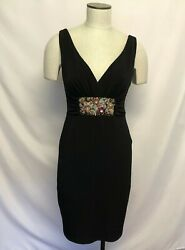 David Meister Black V-Neck Dress Sz 4 Sleeveless with Jeweled Embroidered Accent $74.99