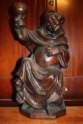 ✟ Antique 18 Wood Hand Carved Beer Drinking Monk Friar Abbot Figurine Statue ✟
