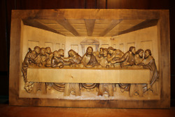 ✟ Vintage Large Wooden Hand Carved Last Supper Jesus Patron Saint Wall Relief ✟