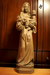 ☩ Antique 20 Hand Carved Wooden Our Lady Mary Madonna Jesus Christ Statue ☩