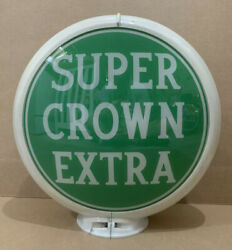 Vintage Super Crown Extra Gas Pump Globe Light Glass Lens Garage Oil Sign
