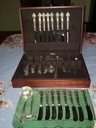 69 Pc 1939 Vintage Gorham Sterling Silver English Gadroon Flatware Service For 8