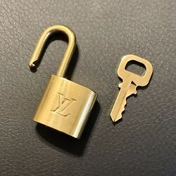 Authentic LOUIS VUITTON Brass Padlock with Matching Key (LV Lock Number Varies) $64.99