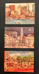 Three Boston Postcards By Artist Linda Levine