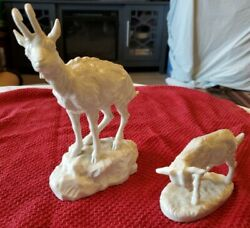 Rare Pair2 Nymphenburg Porcelain Goat Figurines 515 And 606.germany.green Mark