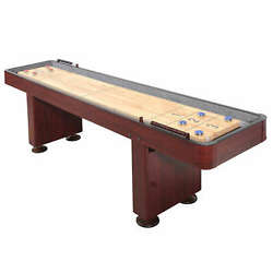 Challenger 9-ft Shuffleboard Table W Dark Cherry Finish Hardwood Playfield And