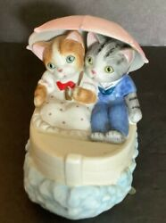 Vintage 1982 Porcelain Mann Music Box Cats In Boat Plays Moon River And Rocks