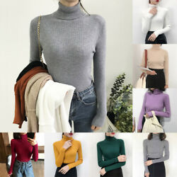 2020 Thick Women Sweater Knitted Ribbed Pullover Sweater Turtleneck Slim Jumper $8.51