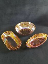 Vintage Carnival Glass Indiana Glass Lot Of Three