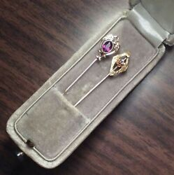 Two 10k Gold Stick Pins With Gems And Box. Antique Charm/coin/bullion/bar/exonumia