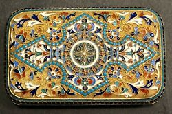 Antique Imperial Russian Gilded Enameled 84 Silver Cigarette Case Nazarov