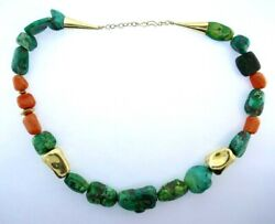 Vintage 18k Yellow Gold, Coral And Turquoise Bead Necklace